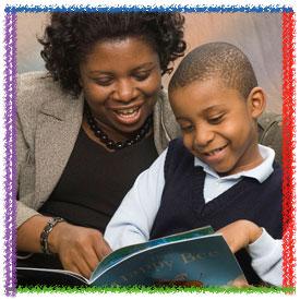 kid reading w parent