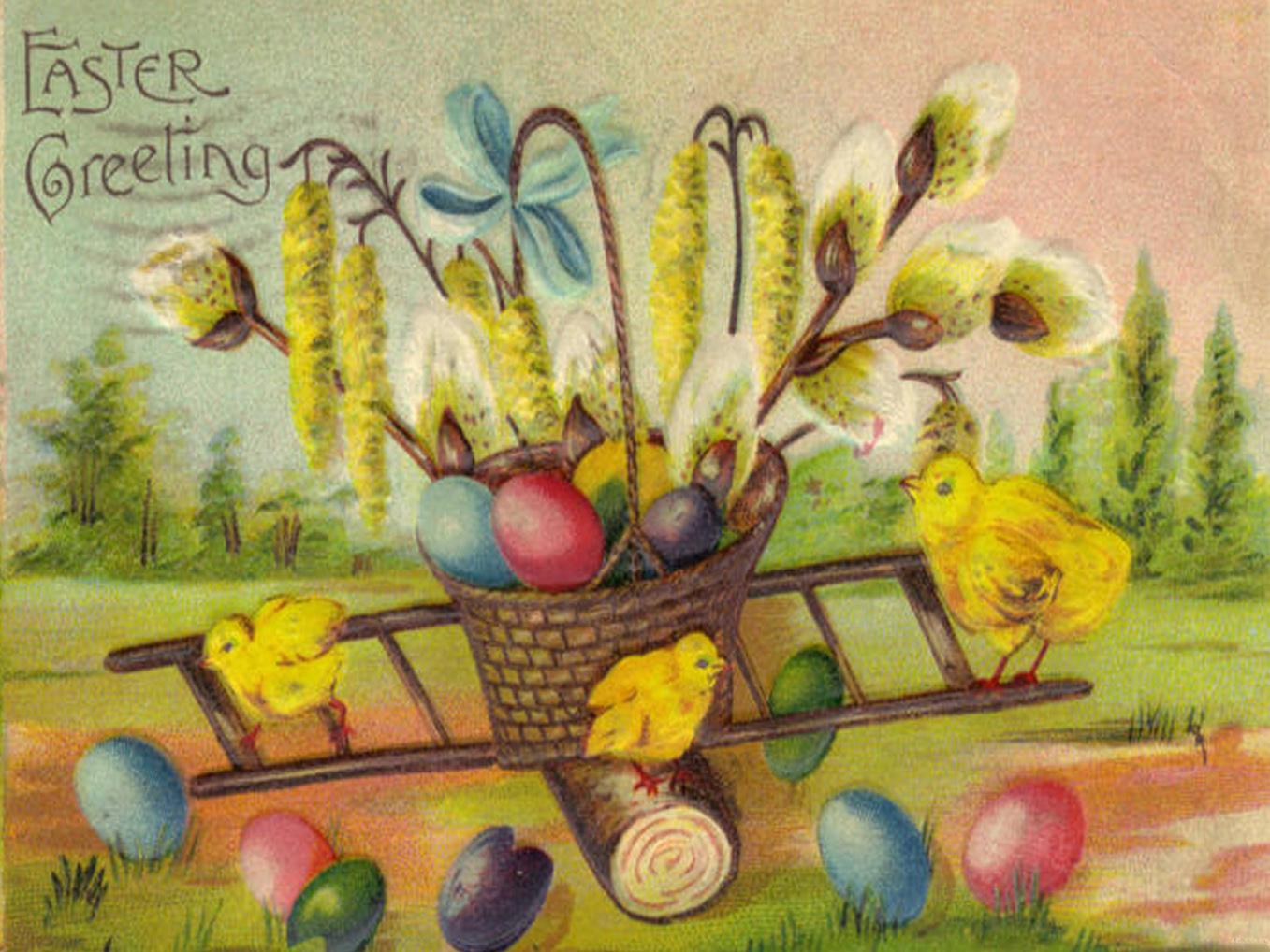 Free vintage image download-easter chicks